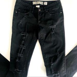 Roxy Distressed Jeans Black Skinny Low waist